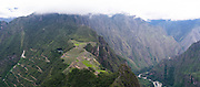 The Incan ruins of Machu Picchu, photographed from atop Huayna Picchu, near Aguas Calientes, Peru.