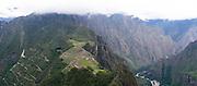 The Incan ruins of Machu Picchu, photographed from atop Huayna Picchu, near Aguas Calientes, Peru.