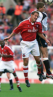 Fotball: Liverpool's Stephen Gerrard and Charlton's John Robinson during the Premiership match at the Valley.