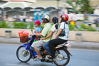 Family on a motorbike in Bangkok Thailand&#xA;<br />