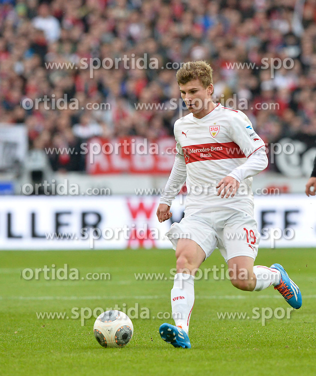 09.02.2014, Mercedes Benz Arena, Stuttgart, GER, 1. FBL, VfB Stuttgart vs FC Augsburg, 20. Runde, im Bild Timo Werner VfB Stuttgart am Ball Freisteller, Einzelbild, Aktion // during the German Bundesliga 20th round match between VfB Stuttgart and FC Augsburg at the Mercedes Benz Arena in Stuttgart, Germany on 2014/02/09. EXPA Pictures &copy; 2014, PhotoCredit: EXPA/ Eibner-Pressefoto/ Weber<br /> <br /> *****ATTENTION - OUT of GER*****