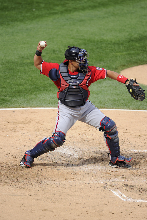 CHICAGO - JUNE 25:  Ivan Rodriguez #7 of the Washington Nationals throws the ball toward second base while catching against the Chicago White Sox on June 25, 2011 at U.S. Cellular Field in Chicago, Illinois.  The White Sox defeated the Nationals 3-0.  (Photo by Ron Vesely)   Subject:  Ivan Rodriguez