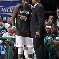 14 May 2012: Boston Celtics head coach Doc Rivers talks to Boston Celtics small forward Mickael Pietrus (28) during the Philadelphia Sixers 82-81 victory over the Boston Celtics, in Game 2 of the Eastern Conference semifinals playoff series, at the TD Banknorth Garden, Boston, Massachusetts, USA.