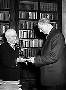 Sean T O'Kelly giving seal of Office to Mr de Valera.20/03/1957..Éamon de Valera (14/10/1882 - 29/08/1975) was one of the dominant political figures in twentieth century Ireland. His political career spanned over half a century, from 1917 to 1973; he served multiple terms as head of government and head of state. He also led the introduction of the Constitution of Ireland..De Valera was a leader of Ireland's struggle for independence from Britain in the War of Independence and of the anti-Treaty opposition in the ensuing Irish Civil War (1922-1923). In 1926, he founded Fianna Fáil, and was head of government from 1932 to 1948, 1951 to 1954 and 1957 to 1959.