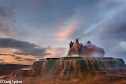 Sunset at Fly Geyser -  A sunset photograph of Fly Geyser, located near Gerlach, Nevada