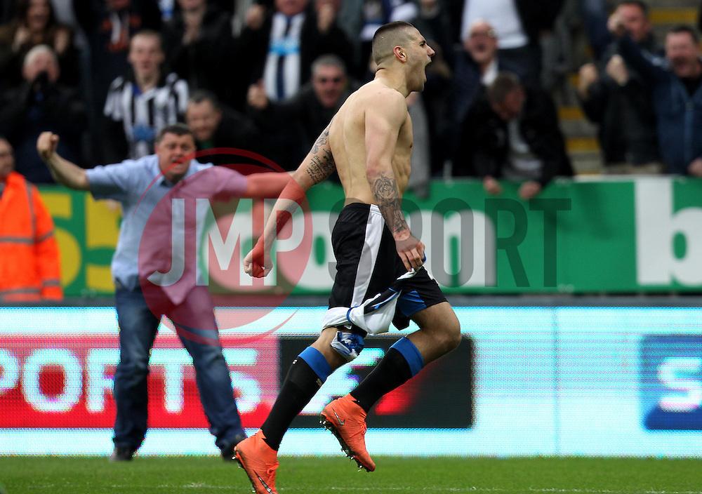 Aleksandar Mitrovic of Newcastle United celebrates scoring an equalising goal against Sunderland - Mandatory byline: Robbie Stephenson/JMP - 20/03/2016 - FOOTBALL - ST James Park - Newcastle, England - Newcastle United v Sunderland - Barclays Premier League