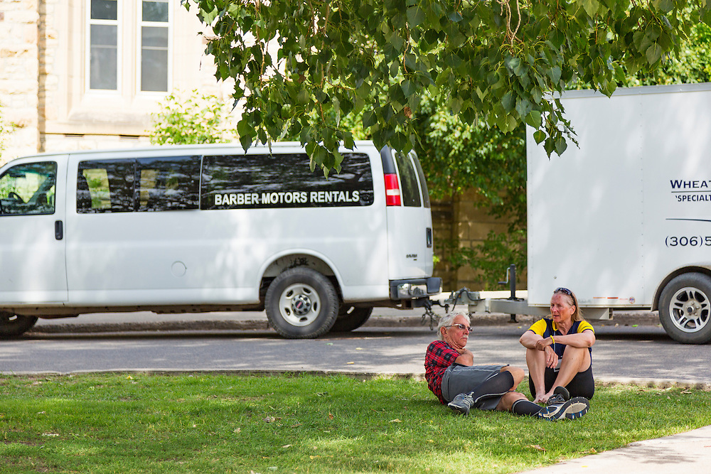 University of Saskatchewan residences, our overnight stop at the end of Day 3. Outside Qu'Appelle Hall, Voyageur Place.