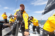 "ENGLAND, Cowes. 10th August 2011. Training with Abu Dhabi Ocean Racing. , Andrew ""Junior"" Lewis on board Volvo 70, Azzam. Abu Dhabi Volvo Ocean Race Team."