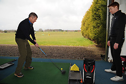 Willie Rennie, Cluny golf, 10-4-2016<br /> <br /> Willie visits Local outdoor activity centre Cluny Golf seen with PGA assistant Pro Stuart Milne<br /> <br /> (c) David Wardle | Edinburgh Elite media
