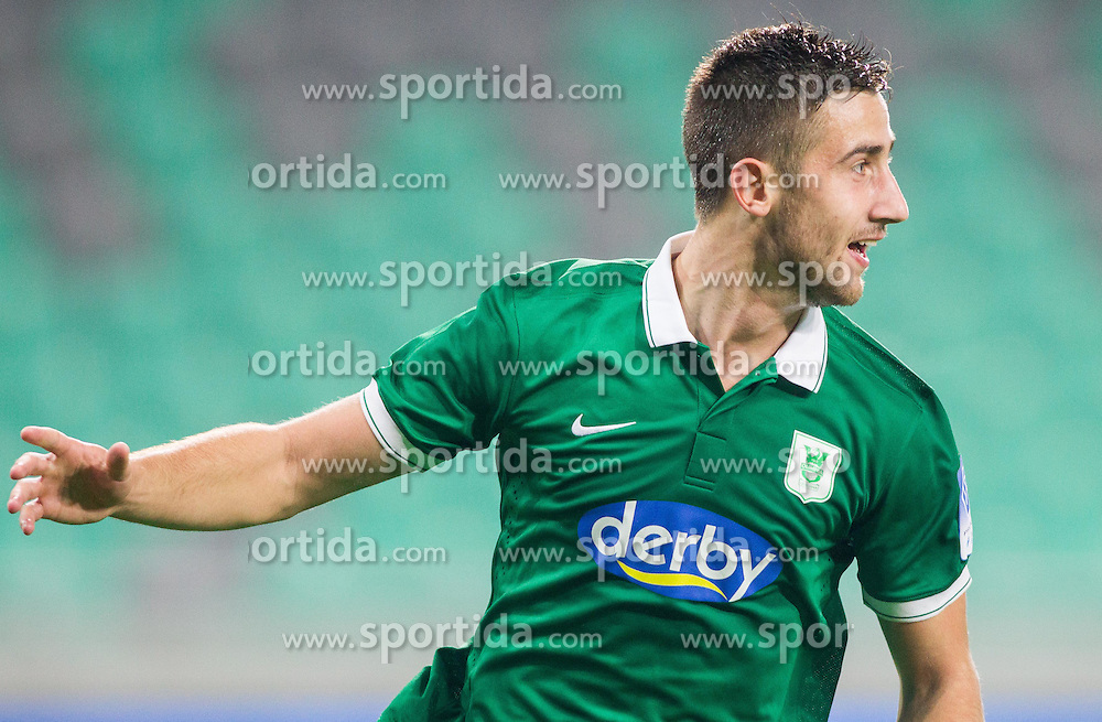 Andraz Sporar #10 of Olimpija celebrates after he scored second goal for Olimpija during football match between NK Olimpija and NK Zavrc in 8th Round of Prva liga Telekom Slovenije 2014/15, on September 13, 2014 in SRC Stozice, Ljubljana, Slovenia. Photo by Vid Ponikvar  / Sportida.com