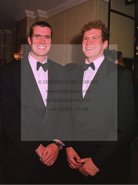 Left to right, top rowing brothers JONNY and GREG SEARLE they won Olympic gold in 1992, at a ball in London on 17th December 1997.MEG 41