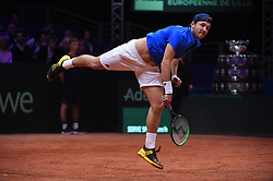 Lucas Pouille (FRA) during the 4th and last match of the Davis Cup final round tie against Croatia at Stade Pierre Mauroy, in Lille, France on November, 25, 2018. Photo by Corinne Dubreuil/ABACAPRESS.COM