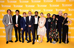 Harry Michell, Joel Fry, Ed Sheeran, director Danny Boyle, Himesh Patel, Lily James, Sanjeev Bhaskar, Meera Syal, writer Richard Curtis, and Kate McKinnon attending the Yesterday UK Premiere held in London, UK.