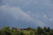 Agicultural landscape of Slovenian farms and homes in the Kozjansko Regional Park, on 24th June 2018, in Doblezica, Slovenia.