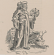 Woodcut of a sixteenth century astrologer/astronomer and his instruments. Sixteenth century woodcut.