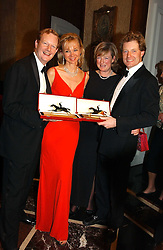 Left to right, The EARL & COUNTESS OF DERBY and the HON.PETER & MRS STANLEY at the 2004 Cartier Racing Awards in association with the Daily Telegraph, held at the Four Seasons Hotel, London on 17th November 2004.<br />
