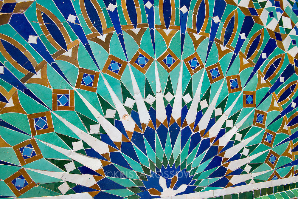 Detail of tiles at the Hassan II Mosque in Casablanca. It the largest mosque in Morocco and is built on a promontory overlooking the Atlantic Ocean.