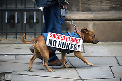 © Licensed to London News Pictures  . 03/10/2017 . Manchester , UK . Protester STUART HOLMES with his dog STUART (too) with Sacred Planet No Nukes demonstration sign on day three of the Conservative Party Conference at the Manchester Central Convention Centre . Photo credit : Joel Goodman/LNP