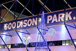 A general view of the Christmas decorations outside Goodison Park - Mandatory byline: Matt McNulty/JMP - 07966386802 - 07/12/2015 - FOOTBALL - Goodison Park -Liverpool,England - Everton v Crystal Palace - Barclays Premier League