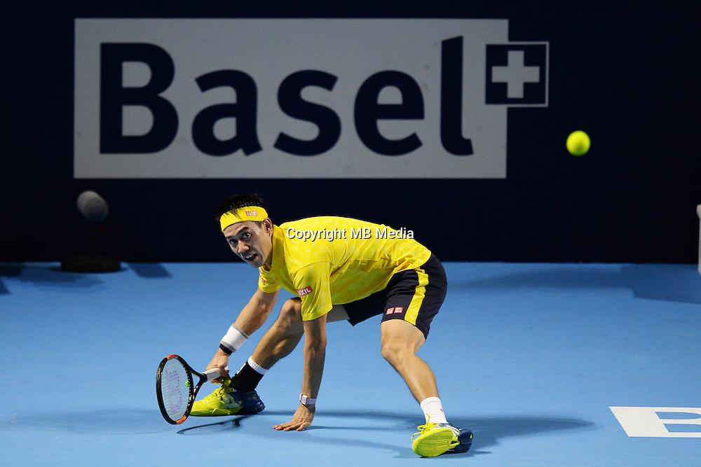 Kei Nishikori (JPN) in action whilst winning  against Paolo Lorenzi (ITA) in the ATP 500 Swiss Indoors in Basel
