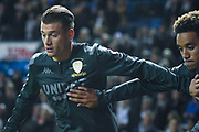 Leeds United defender Ezgjan Alioski (10) warming up during the EFL Sky Bet Championship match between Leeds United and West Bromwich Albion at Elland Road, Leeds, England on 1 October 2019.