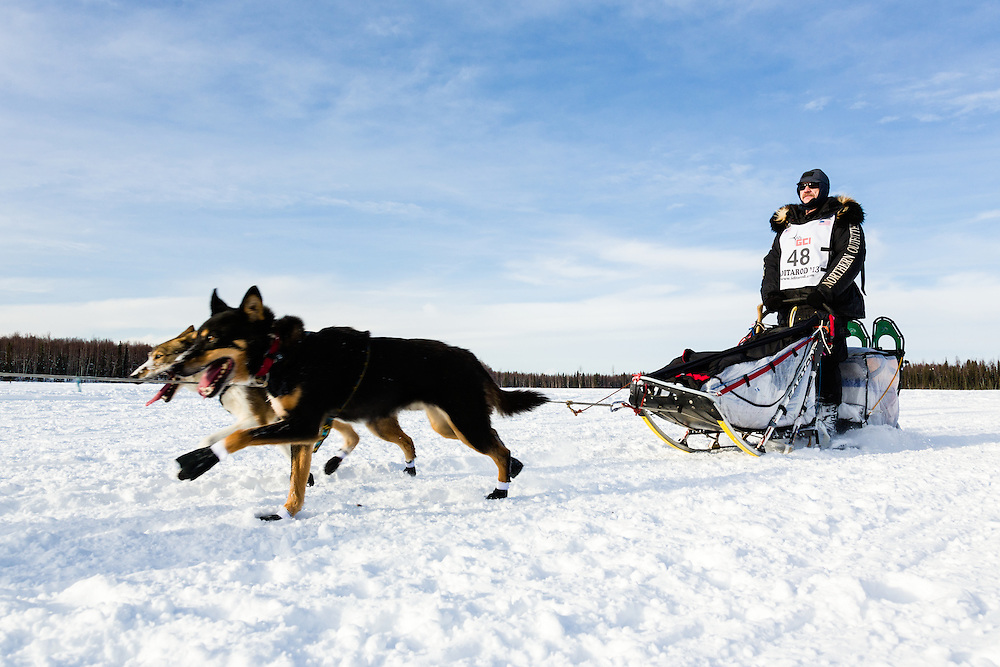 Musher Allen Moore competing in the 41st Iditarod Trail Sled Dog Race on Long Lake after leaving the Willow Lake area at the restart in Southcentral Alaska.  Afternoon.
