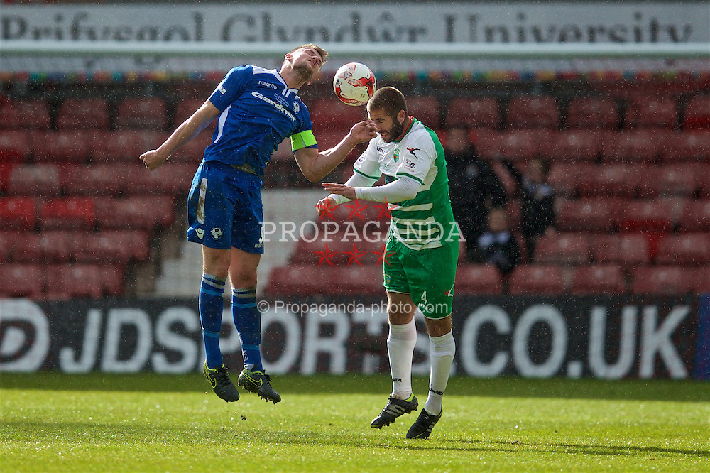 WREXHAM, WALES - Monday, May 2, 2016: Airbus UK Broughton's captain Ian Kearney and The New Saints' Phil Baker during the 129th Welsh Cup Final at the Racecourse Ground. (Pic by David Rawcliffe/Propaganda)