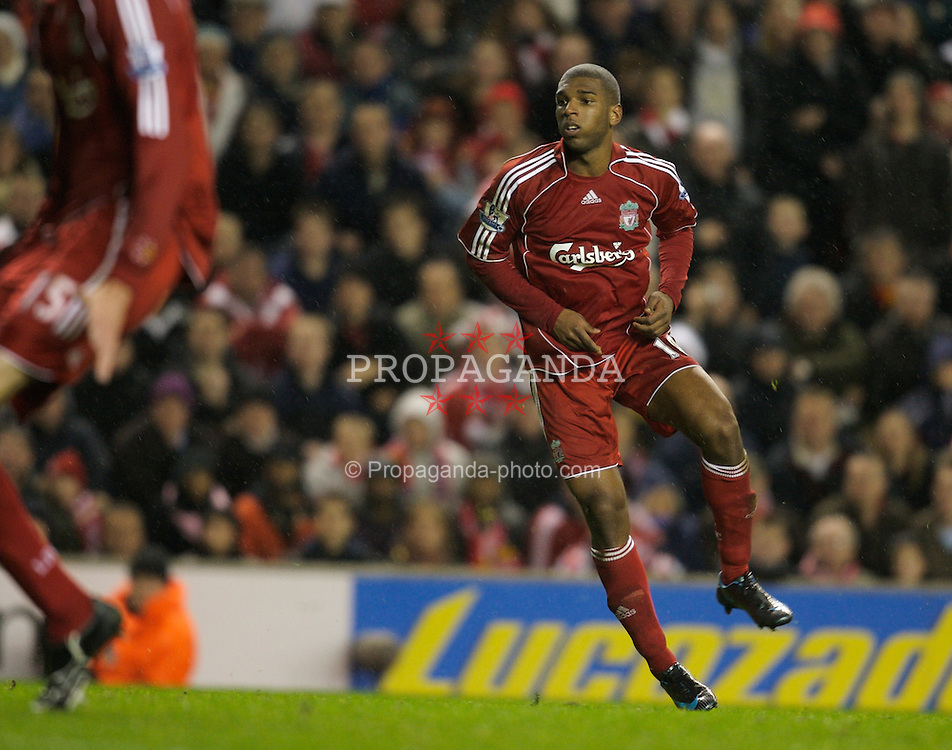 LIVERPOOL, ENGLAND - Tuesday, January 15, 2008: Liverpool's Ryan Babel scores the opening goal during injury time of the first half against Luton Town during the FA Cup 3rd Round Replay at Anfield. (Photo by David Rawcliffe/Propaganda)