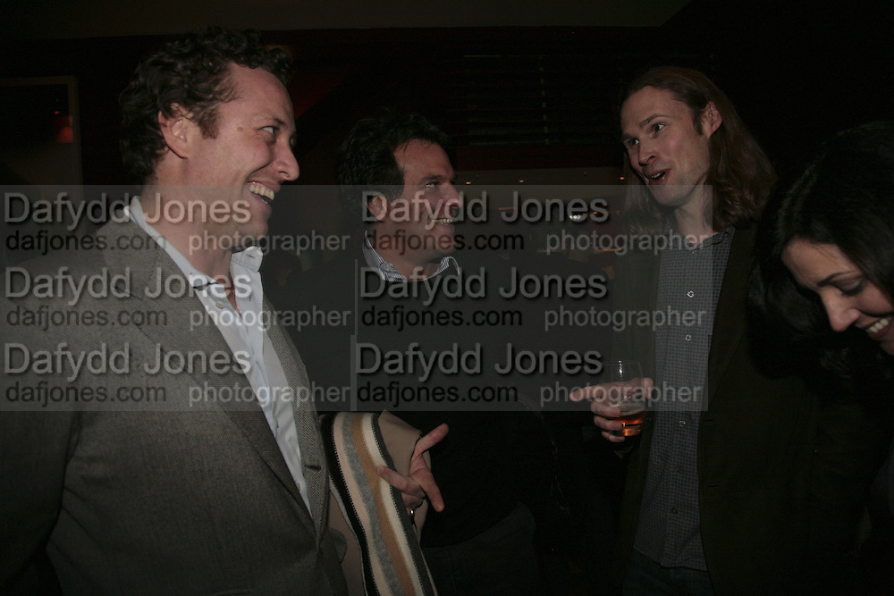 TOBY ROWLAND, BRENT HOBERMAN, MICHAEL BIRCH AND JOANNA SHIELDS, Launch of Ziv Navoth's book Ð Nanotales. The Groucho Club, London. 22 February 2007. t -DO NOT ARCHIVE-© Copyright Photograph by Dafydd Jones. 248 Clapham Rd. London SW9 0PZ. Tel 0207 820 0771. www.dafjones.com.