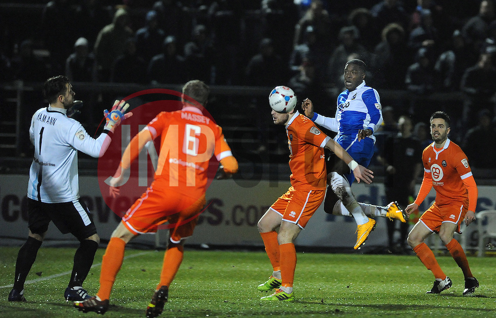 Bristol Rovers' Nathan Blissett  goes close with this header - Photo mandatory by-line: Neil Brookman/JMP - Mobile: 07966 386802 - 24/02/2015 - SPORT - Football - Bristol - Memorial Stadium - Bristol Rovers v Braintree - Vanarama Football Conference