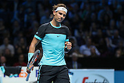 Rafael Nadal celebrates taking the second set during the ATP World Tour Finals at the O2 Arena, London, United Kingdom on 20 November 2015. Photo by Phil Duncan.