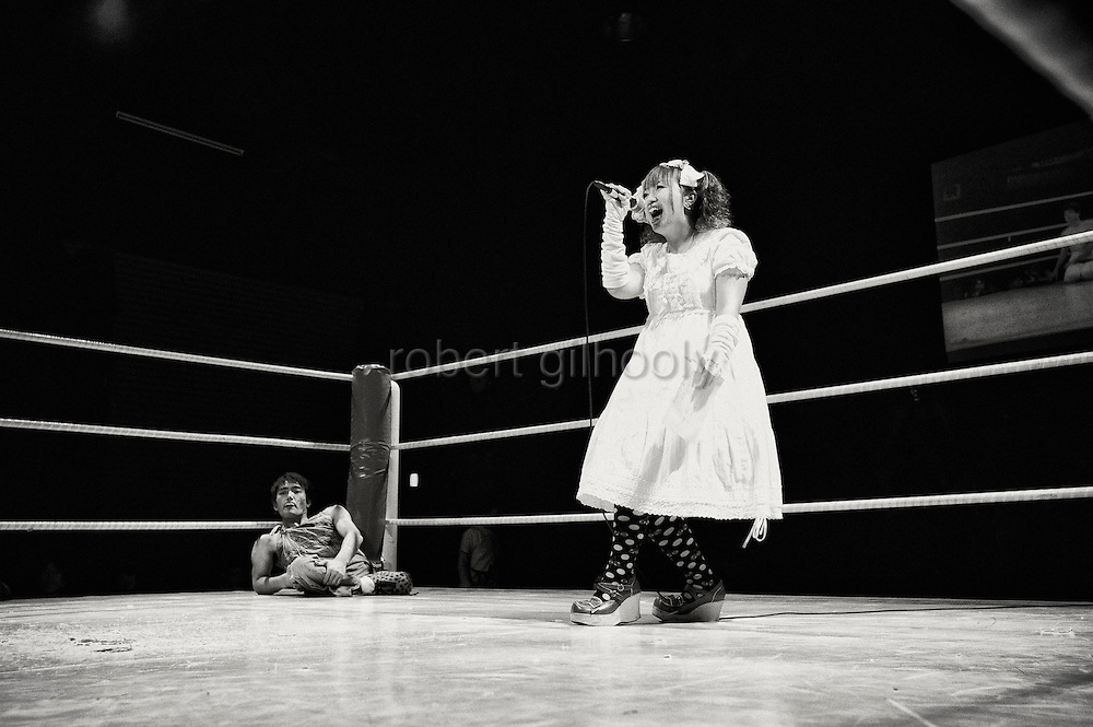 The MC introduces two wrestlers prior to a bout at Doglegs, an event for wrestlers with physical and mental handicaps in Tokyo, Japan.