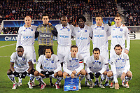 FOOTBALL - CHAMPIONS LEAGUE 2010/2011 - GROUP STAGE - GROUP G - AJ AUXERRE v MILAN AC - 23/11/2010 - PHOTO JEAN MARIE HERVIO / DPPI - TEAM AUXERRE (BACK ROW LEFT TO RIGHT : STEPHANE GRICHTING / OLIVIER SORIN / ADAMA COULIBALY / DELVIN NDINGA / DARIUSZ DUDKA / VALTER BIRSA . FRONT ROW : DENNIS OLIECH / ROY CONTOUT / BENOIT PEDRETTI / FREDERIC SAMMARITANO / CEDRIC HENGBART )