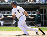 CHICAGO - JUNE 23:  Jose Abreu #79 of the Chicago White Sox bats against the Oakland Athletics on June 23, 2018 at Guaranteed Rate Field in Chicago, Illinois.  (Photo by Ron Vesely)  Subject: Jose Abreu