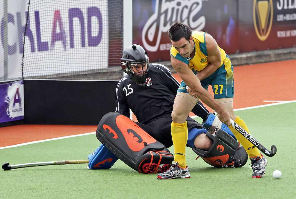Australia's Kieran Govers in action against Great Britain's goalkeeper James Fair in a pool A match of the Hockey Champions Trophy, Auckland, New Zealand, Monday, December 05, 2011.  Credit:SNPA / David Rowland