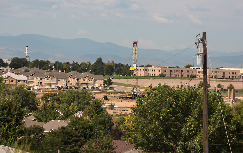 Sept 14th, 2014, Greeley Colorado in Weld County- view of  fracking sites near Northridge HighSchool.