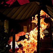 Divining Blocks and Flaming Incense censer, Taitian Temple of Nankunshen, Kun Chiang Village, Beimen Township, Tainan County, Taiwan