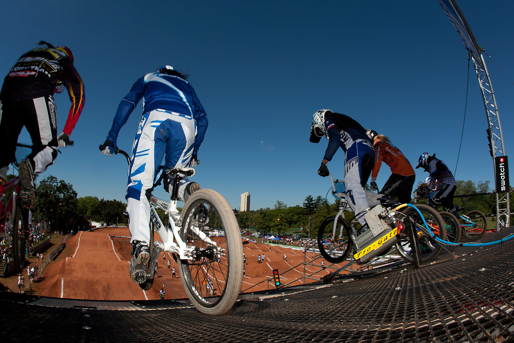 Ladies at the starting gate at the UCI BMX Supercross World Cup, Pietermaritzburg, 2011