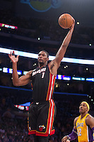 17 January 2013: Center (1) Chris Bosh of the Miami Heat grabs a rebound against the Los Angeles Lakers during the first half of the Heat's 99-90 victory over the Lakers at the STAPLES Center in Los Angeles, CA.