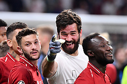 June 1, 2019 - Madrid, Spagna - Foto Alfredo Falcone - LaPresse.01/06/2019 Madrid ( Spagna).Sport Calcio.Liverpool - Tottenham.Finale Uefa Champions League 2018 2019 - Stadio Wanda Metropolitano di Madrid.Nella foto: i giocatori del Liverpool esultano per la vittoria - Allison Becker.Photo Alfredo Falcone - LaPresse.01/06/2019 Madrid (spain).Sport Soccer.Liverpool - Tottenham.Final Uefa Champions League  2018 2019 - Wanda Metropolitano Stadium of Madrid.In the pic: Liverpool platers celebrates (Credit Image: © Alfredo Falcone/Lapresse via ZUMA Press)