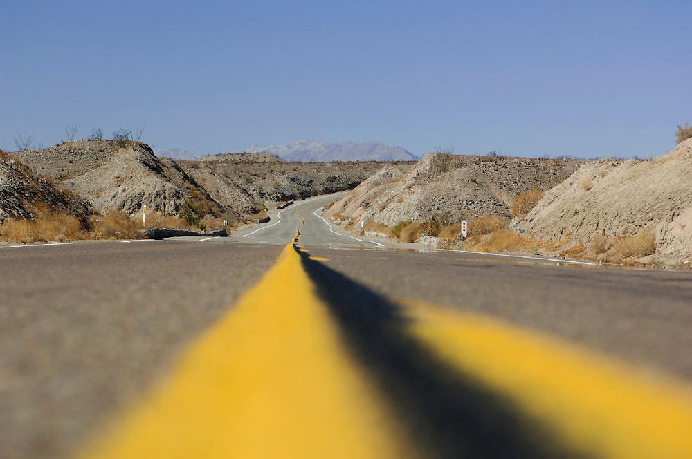 Desert highway at Anza Borrego Desert State Park,  California, United States of America