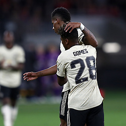 Marcus Rashford of Manchester United celebrates scoring a goal with Angel Gomes of Manchester United