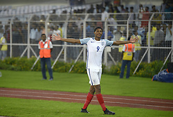 October 25, 2017 - Kolkata, West Bengal, India - England Rhain Brewster (jersey 9) celebrates England win against Brazil at the FIFA U 17 World Cup India 2017 Semi Final match in Kolkata. Players of England and Brazil in action during the FIFA U 17 World Cup India 2017 Semi Final match on October 25, 2017 in Kolkata. (Credit Image: © Saikat Paul/Pacific Press via ZUMA Wire)