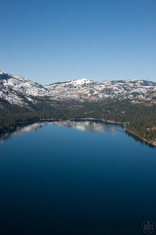 """""""Donner Lake Aerial 3"""" - Photograph of Donner Lake in Truckee, California. Shot from an amphibious seaplane with the door removed."""