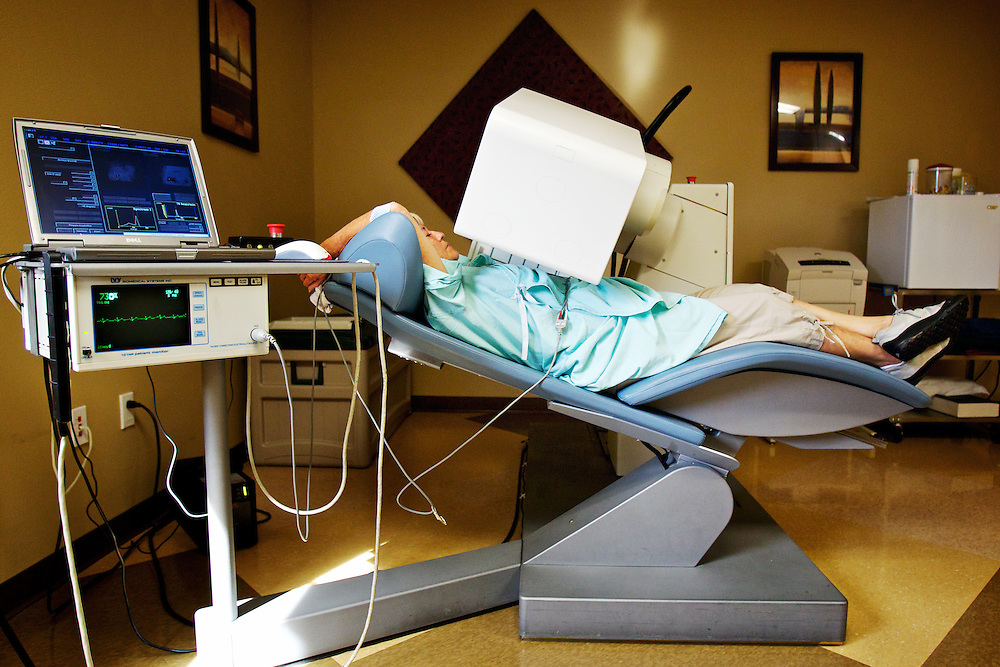 Bonnie Zavala rests in a reclining chair as a camera tracks an isotope in her body during a nuclear stress test Wednesday at Heart Clinics Northwest in Coeur d'Alene. Kootenai Health announced plans Wednesday to acquire the clinic in an effort to expand the facility's cardiac care coverage in the region.