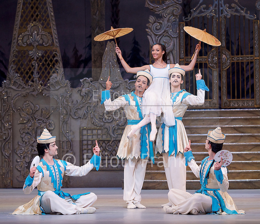 The Nutcracker<br /> <br /> Choreography by Peter Wright after Lev Ivanov<br /> Music by Tchaikovsky<br /> <br /> The Royal Ballet at the Royal Opera House, Covent Garden, London, Great Britain <br /> <br /> Pre-General Rehearsal <br /> <br /> 7 December 2015 <br /> <br />          <br /> <br /> Francesca Hayward as Clara  <br /> Chinese dance <br /> <br /> <br /> <br /> Photograph by Elliott Franks <br /> Image licensed to Elliott Franks Photography Services