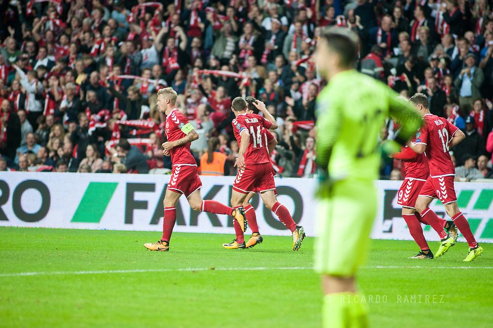 01.09.2017. Copenhagen, Denmark. <br /> Thomas Delaney of Denmark celebrates scoring the first goal during the FIFA 2018 World Cup Qualifier between Denmark and Poland at Parken Stadion.<br /> Photo: © Ricardo Ramirez.