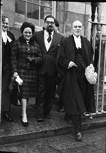Dr. Paul Singer and his wife Irma leaving the Criminal Court after being cleared in the Shanahan Stamps affair..24.01.1962