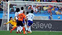 Durban World Cup 2010  Holland v Japan  Match 25 29/06/10<br /> Wesley Sneijder   (NED) beats Eifi Kawashima  (JAP)  for first goal<br /> Photo Roger Parker Fotosports International