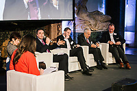 """ROME, ITALY - 27 MARCH 2018: (R-L) Florian Nehm (Head of Corporate Sustainability & EU Affairs at Exel Springer SE), Ennio Lucarelli (President of Confindustria SIT), Guillaume Champeau (Ethic & Public Relations Officer at Qwant), Marcel Patrignani (CCE Italie and Presidente e Direttore Generale Altran Italia), Gabriella Muscolo (Componente Autorità Garante della Concorrenza e del Mercato, AGSCM, AntiTrust) and host Costanza Calabrese attend the panel """"Privacy: cosa significa per le imprese"""" 